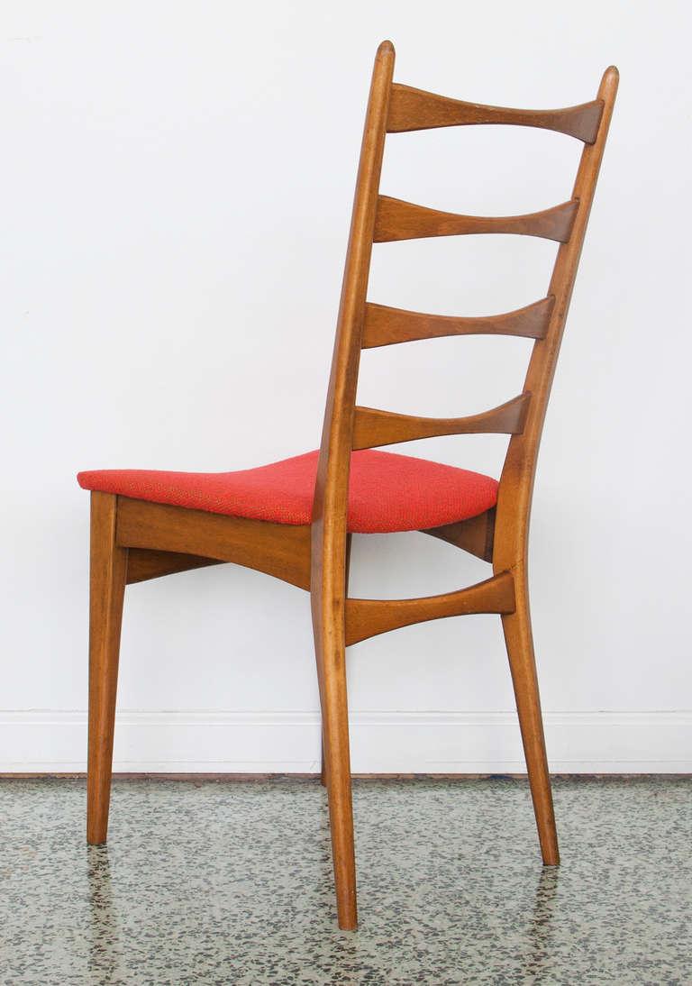 Six danish modern midcentury ladder back dining chairs at for Danish modern dining chairs