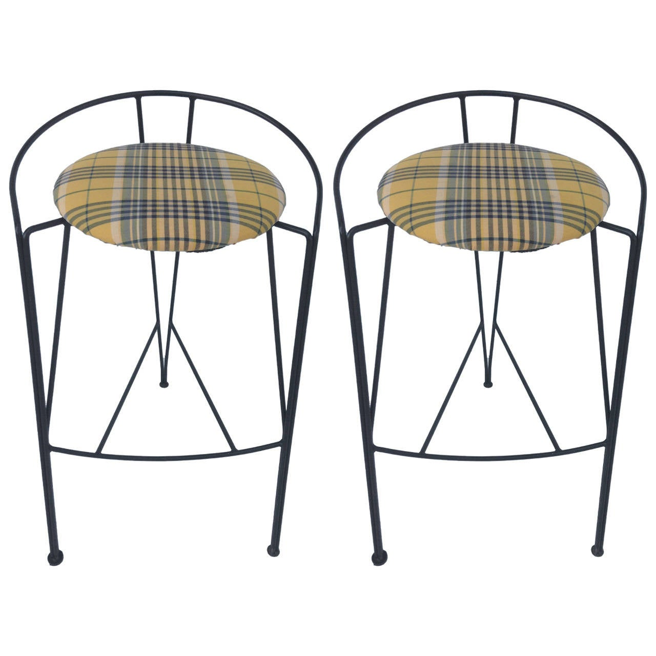 Unique Metal Wire Bar Stools Pair in the Style of Arthur Umanoff