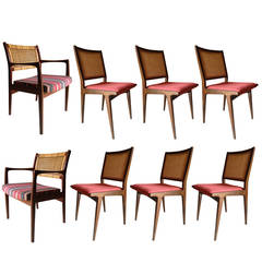 Eight Walnut Dining Danish Modern Caned Back Chairs by DUX