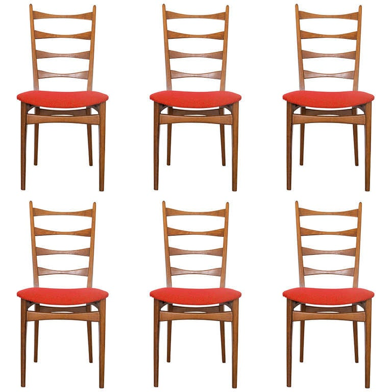 Terrific Six Danish Modern Midcentury Ladder Back Dining Chairs Beutiful Home Inspiration Cosmmahrainfo