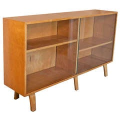 Florence Knoll Attributed Founders Walnut Cane Credenza