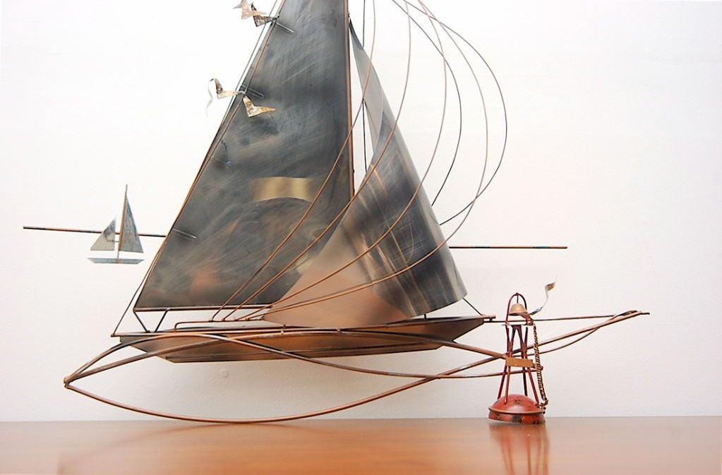 Metal Wall Decor Sailboats : C jere sailboat metal wall art sculpture at stdibs