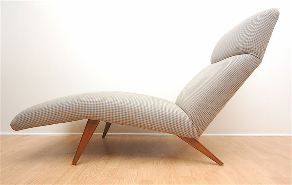 Mid-Century Chaise Lounge Chair Houndstooth Fabric 2
