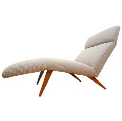 Mid-Century Chaise Lounge Chair Houndstooth Fabric