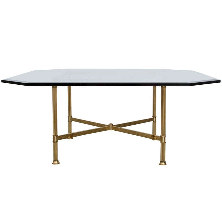 Brass X Base Coffee Table By Labarge 1