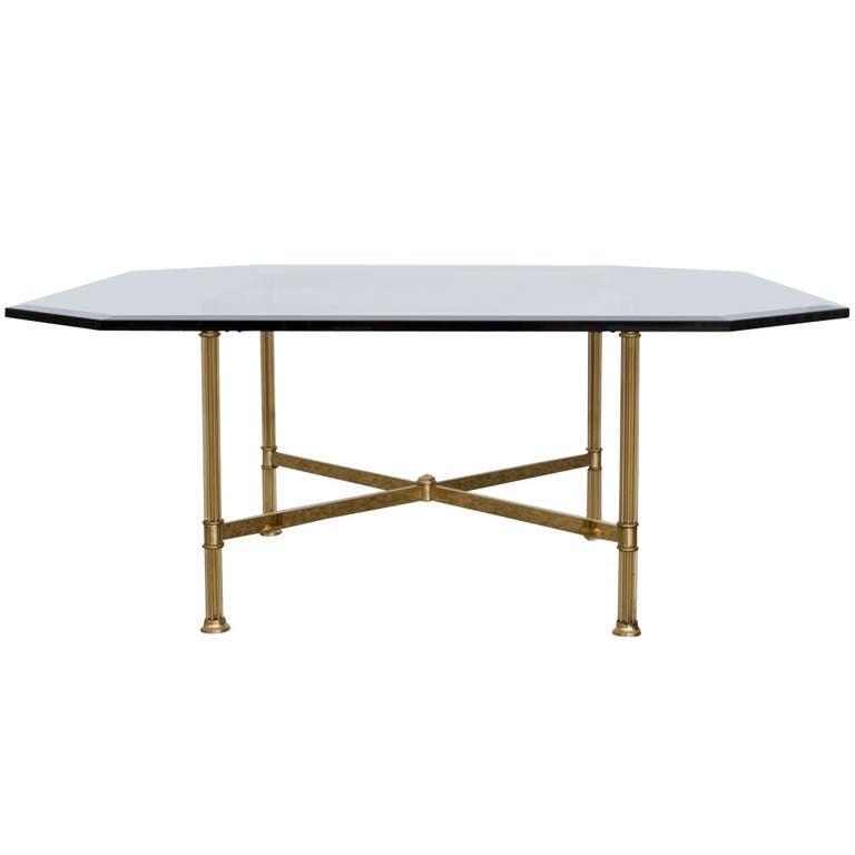 "brass ""x"" base coffee tablelabarge at 1stdibs"