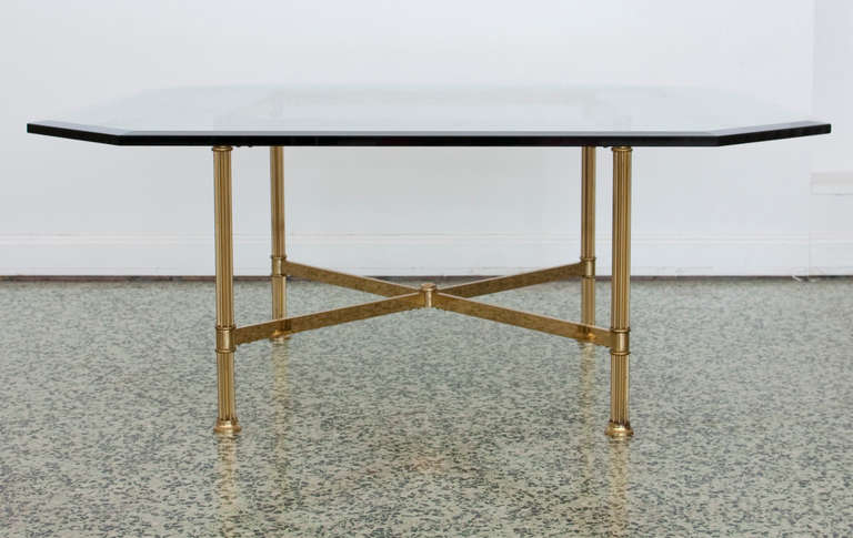 Brass X Base Coffee Table By Labarge 2