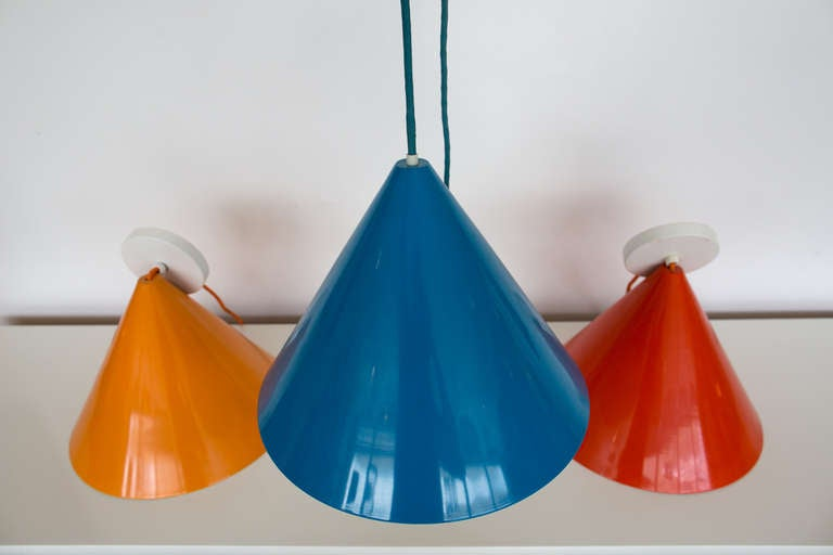 Mid-Century Modern Three Stunning Arne Jacobsen Pendants by Louis Poulsen For Sale