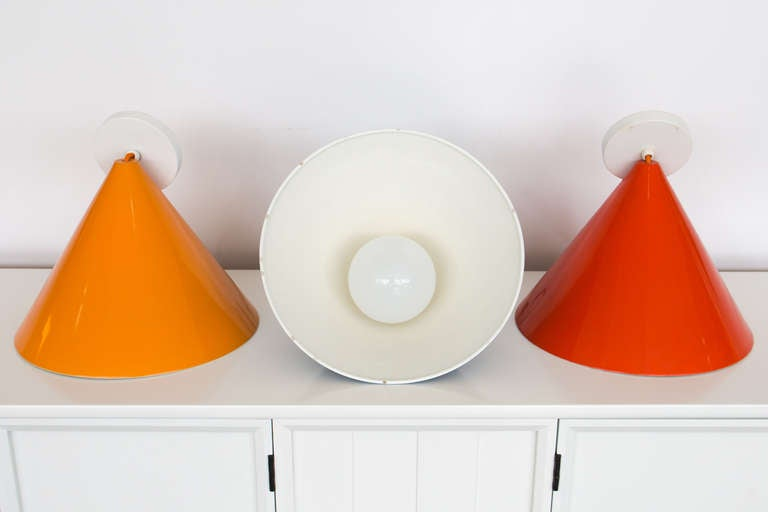 Three Stunning Arne Jacobsen Pendants by Louis Poulsen In Excellent Condition For Sale In St. Louis, MO