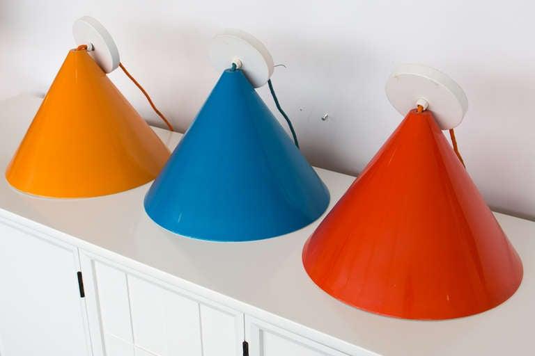 Mid-20th Century Three Stunning Arne Jacobsen Pendants by Louis Poulsen For Sale