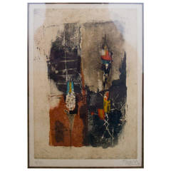"Signed Johnny Friedlaender, ""Composition in Brown"" Abstract"