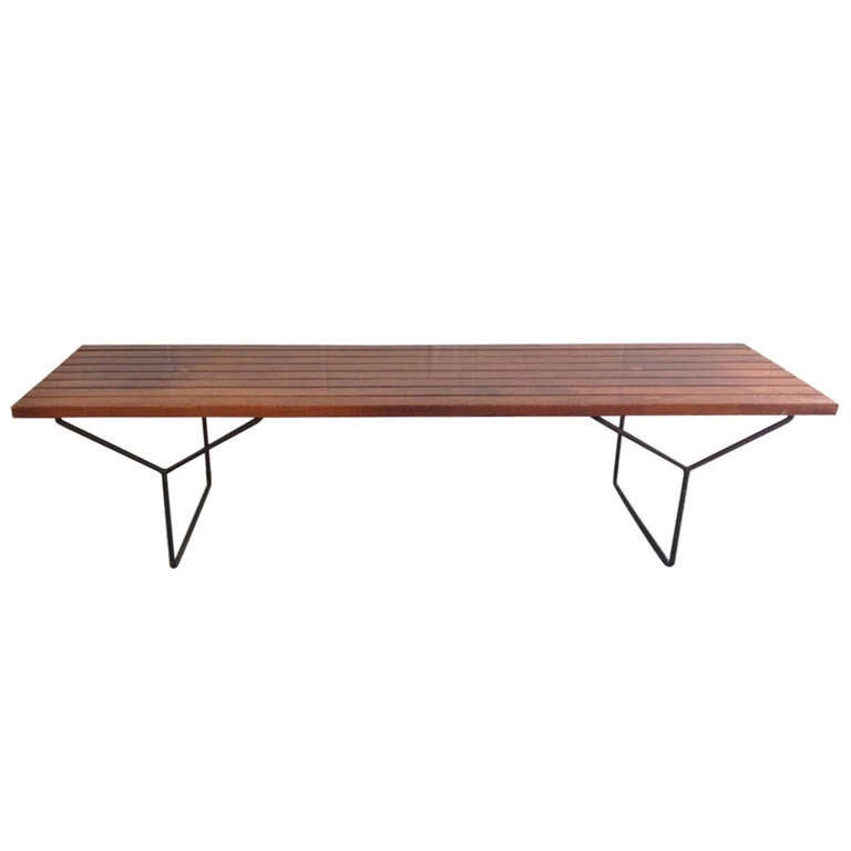 Slat bench by harry bertoia for knoll at 1stdibs - Bertoia coffee table ...