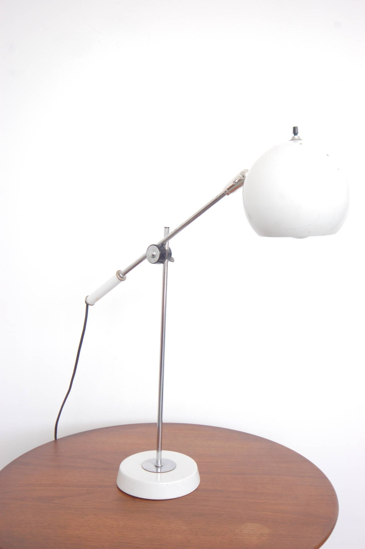 White Lightolier Ball Table Desk Lamp At 1stdibs