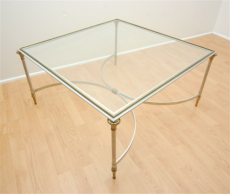 Labarge Style Square Sliver And Brass Coffee Table At 1stdibs