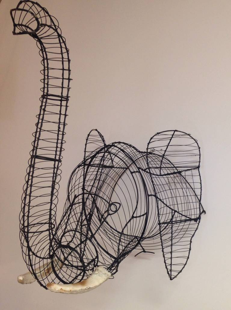 Stunning elephant wire wall sculpture at 1stdibs for Wire wall art