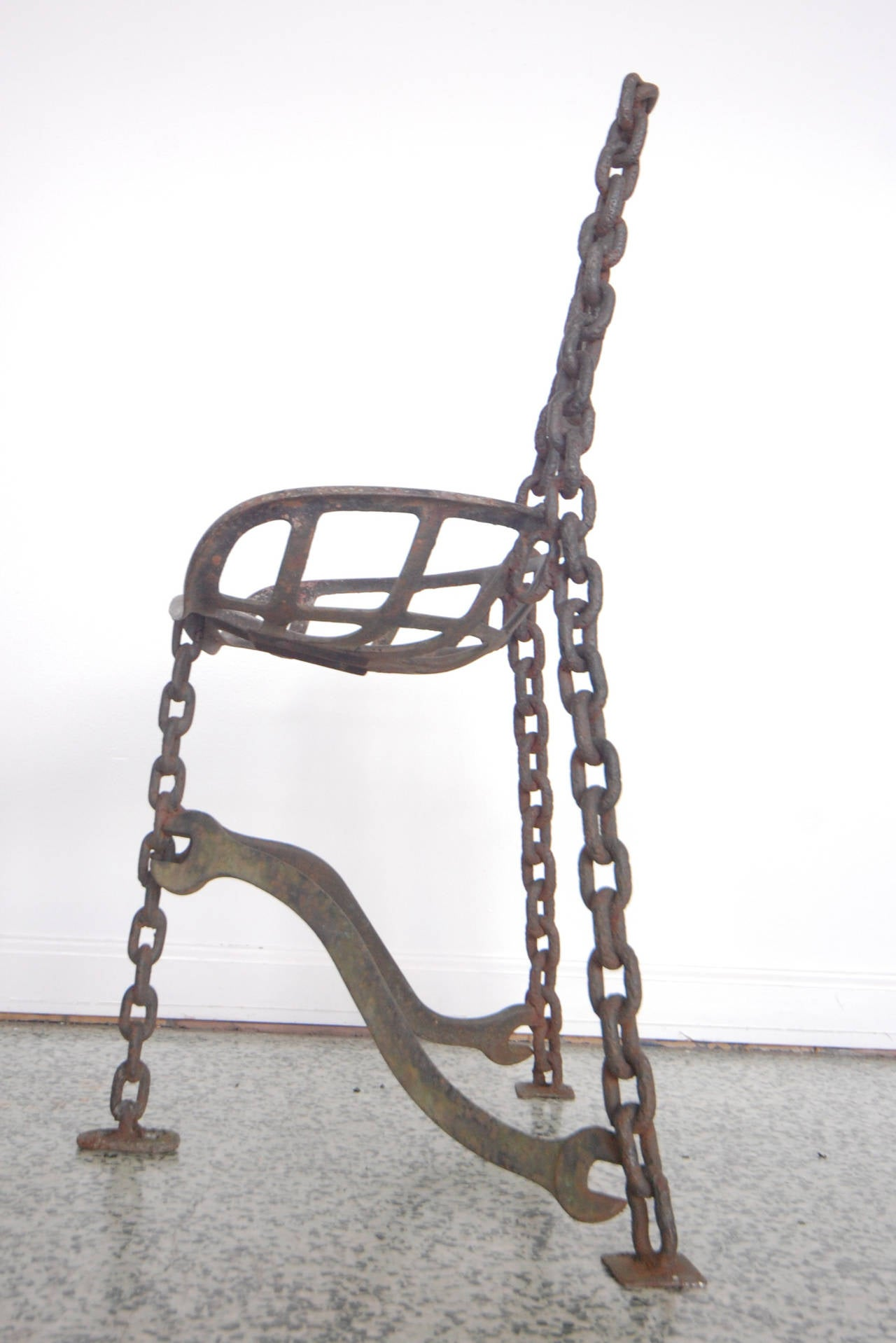 Sculptural Horseshoe Wrench Metal Folk Art Chair At 1stdibs