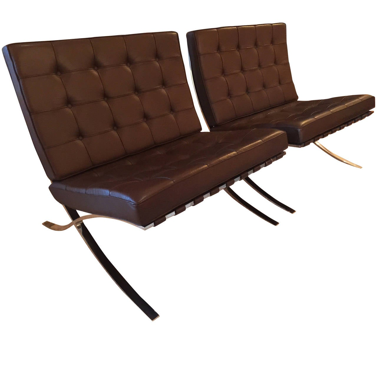 pair of barcelona brown leather chairs by mies van der. Black Bedroom Furniture Sets. Home Design Ideas