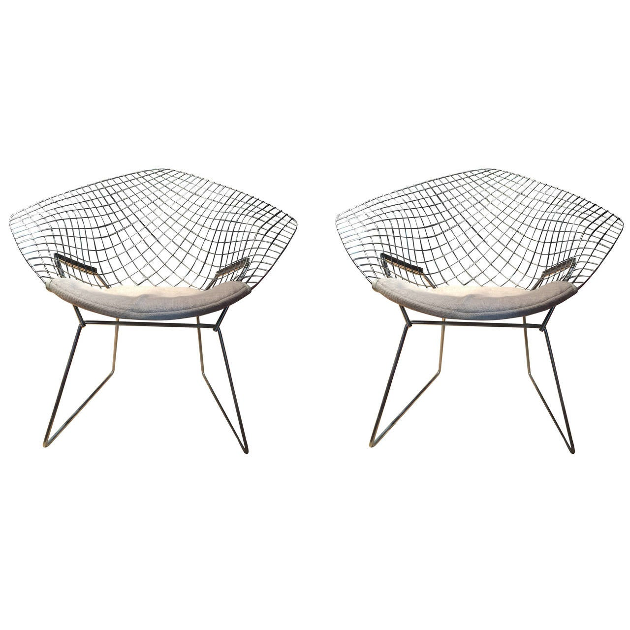 Bertoia diamond chair vintage - Pair Of 1979 Vintage Chrome Diamond Chair By Harry Bertoia For Knoll 1