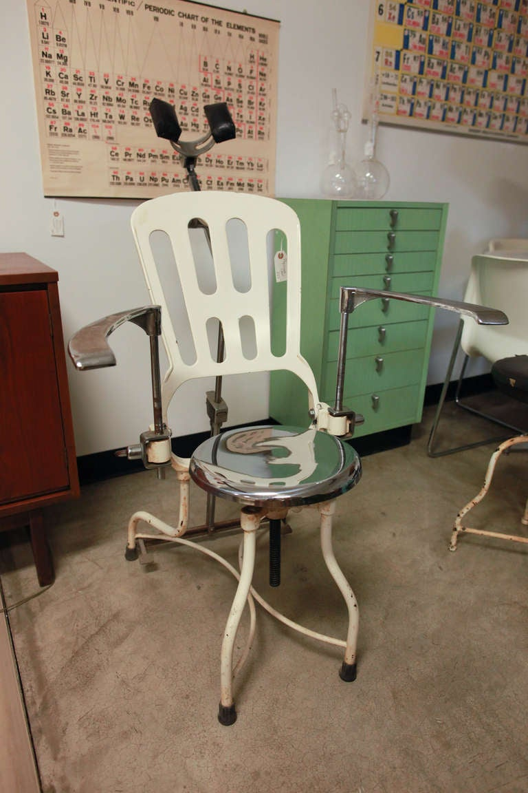 Antique 1920s Art Deco Industrial Metal Dental Chair At