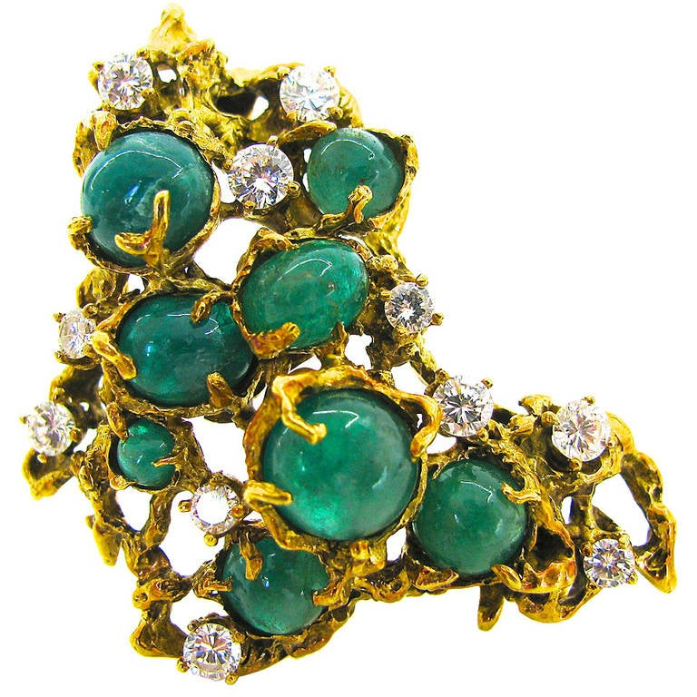 Arthur King Brutalist Emerald Diamond Gold Pendant Brooch