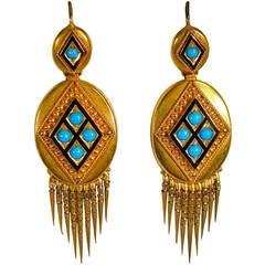 Antique Enamel Turquoise Gold Fringe Earrings