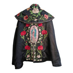 1930's Embroidered Madonna & Roses Cape