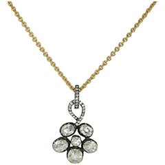 Rose Cut Diamond Flower Pendant