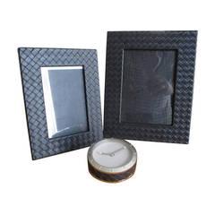 Bottega Veneta Men's Black Leather Intrecciato Desk Accessories