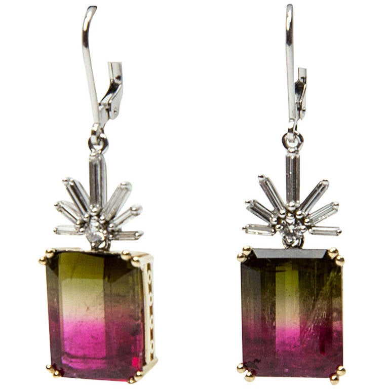 Watermelon Tourmaline Diamond Gold Drop Earrings For Sale