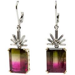 Watermelon Tourmaline Diamond Gold Drop Earrings