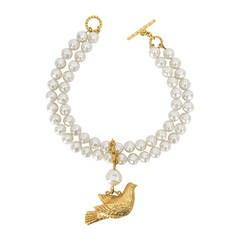 DOMINIQUE AURIENTIS Two Strand Baroque Faux Pearl Bird Pendant Necklace