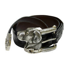 Barry Kieselstein-Cord Black Belt with Sterling Silver Labrador Dog Buckle