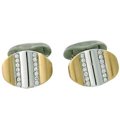 Victor Mayer Diamond Gold Two Tone Cufflinks