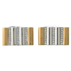 Victor Mayer Diamond Two Tone Gold Cufflinks