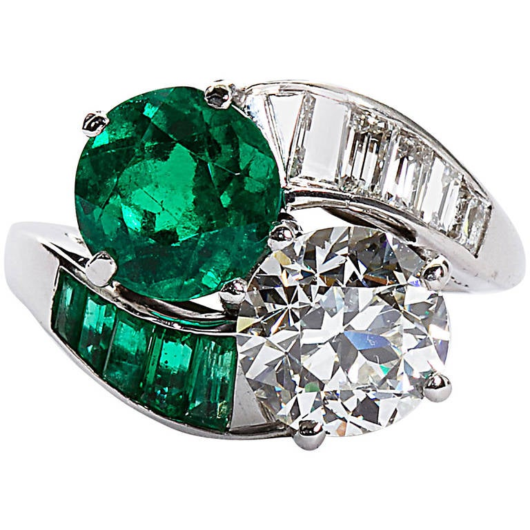 Colombian Emerald Diamond Bypass Ring GIA and AGL Certified For Sale
