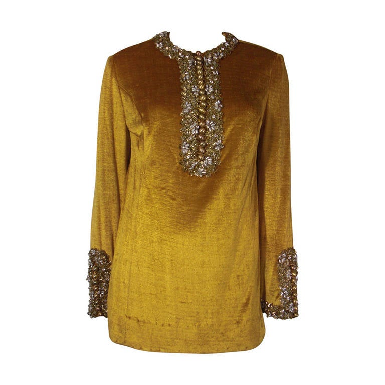 1960s Gold Crushed Velvet Beaded Tunic For Sale