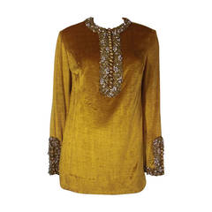 1960s Gold Crushed Velvet Beaded Tunic