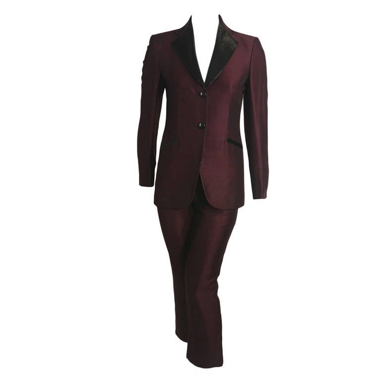 Moschino metallic burgundy tuxedo with black lurex lapel for Black suit burgundy shirt