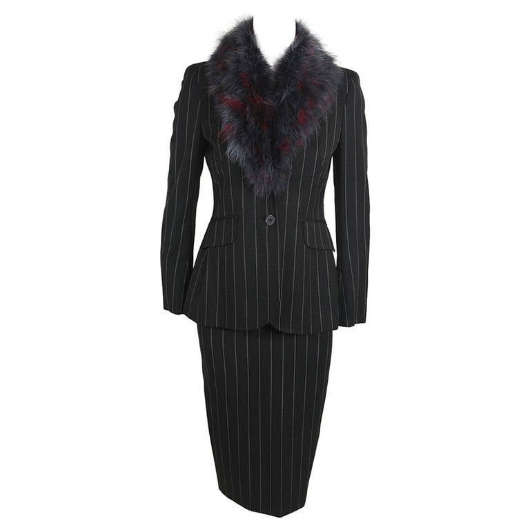 Moschino 1990s Maribou Trimmed Pinstripe Skirt Suit 1