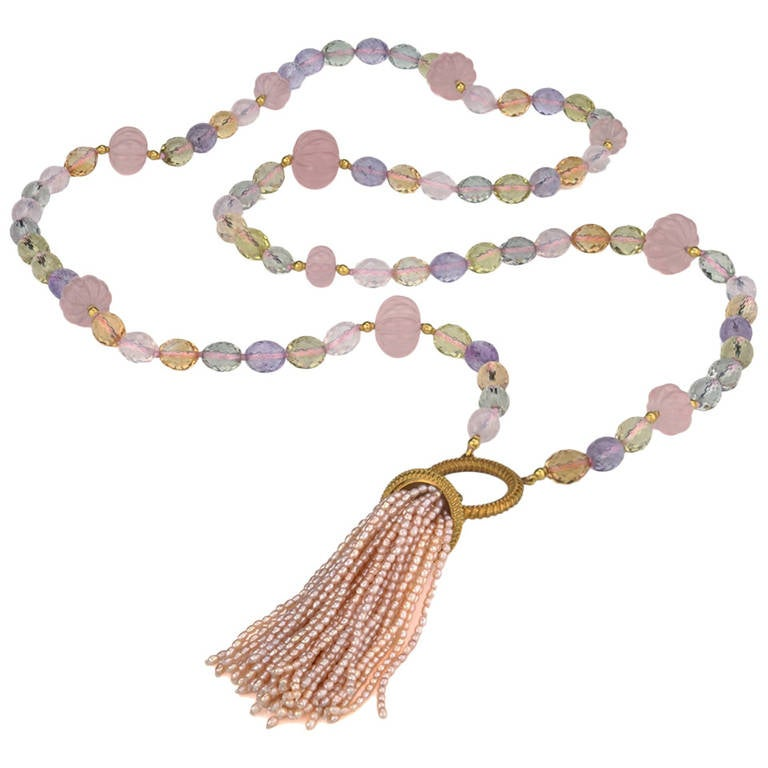 pink seed pearl quartz tassel necklace at 1stdibs