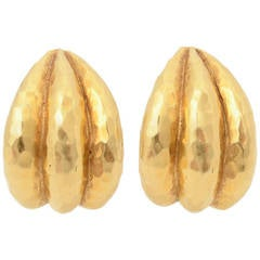 Van Cleef and Arpels Hammered Gold Earrings