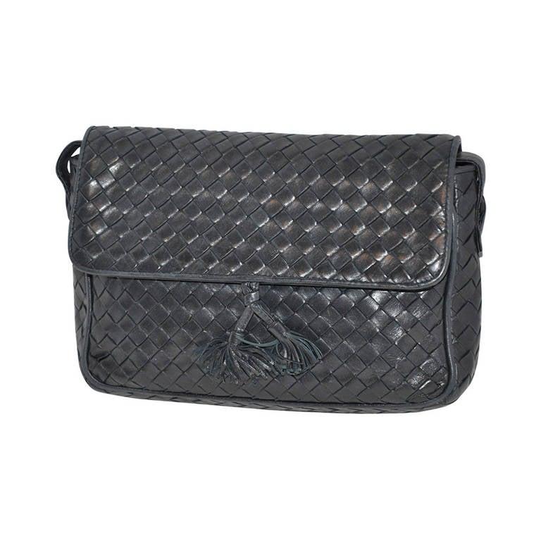 Bottega Veneta Signature Woven Lambskin with Tassles Clutch/ Shoulder Bag