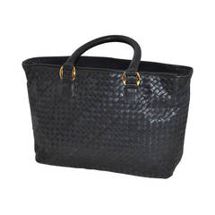 Ganson Black Woven Calfskin Double Handle Tote