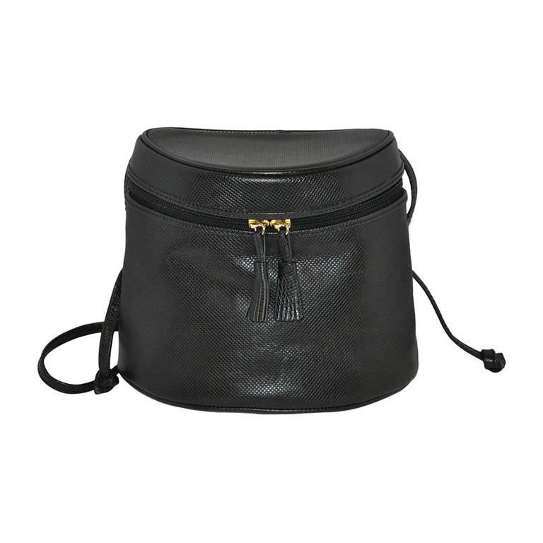 "Bottega Veneta Black Textured Calfskin ""Bucket"" Style Shoulder Bag"