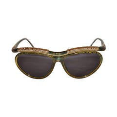 Christian LaCroix Multi-Green & Clear Lucite with Gold Hardware Sunglasses
