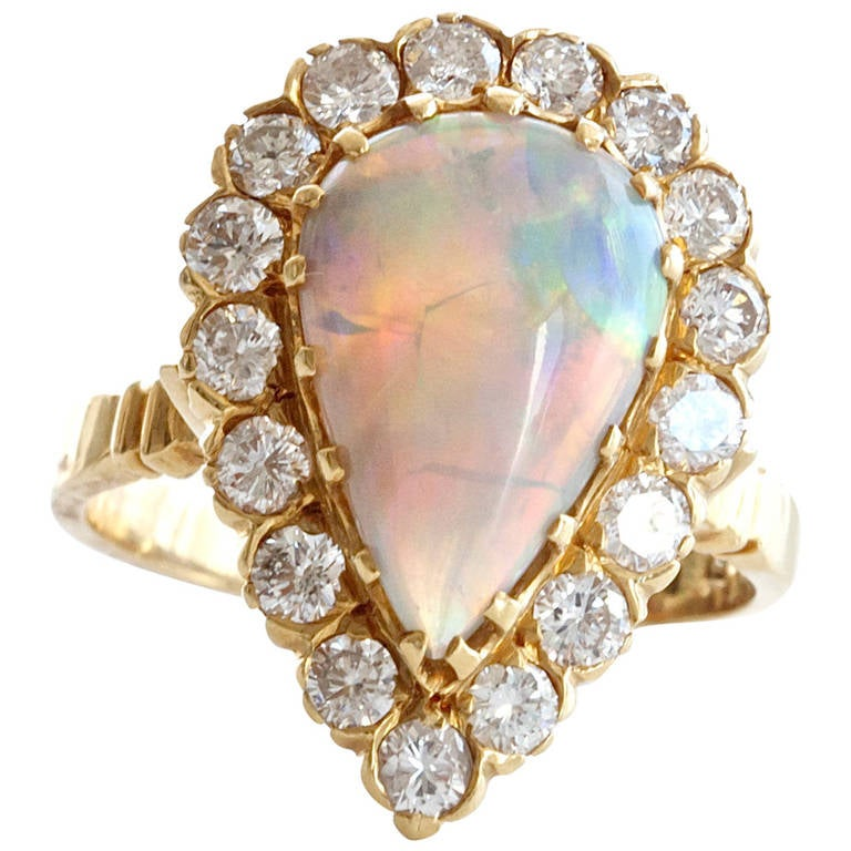 Opal Diamond Gold Ring 1