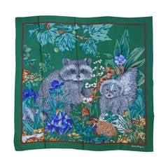 1990s Salvatore Ferragamo Woodland Silk Scarf