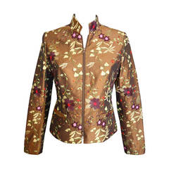 Giuliana Cella Milan Embroidered Brown Silk Jacket
