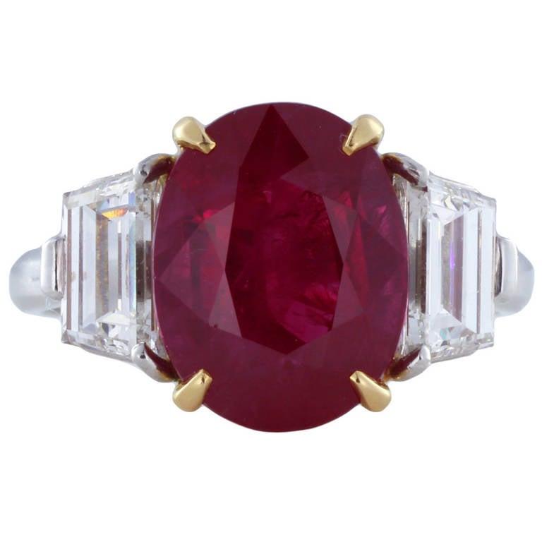 5.45 Carat Burma Ruby Diamond Three Stone Ring