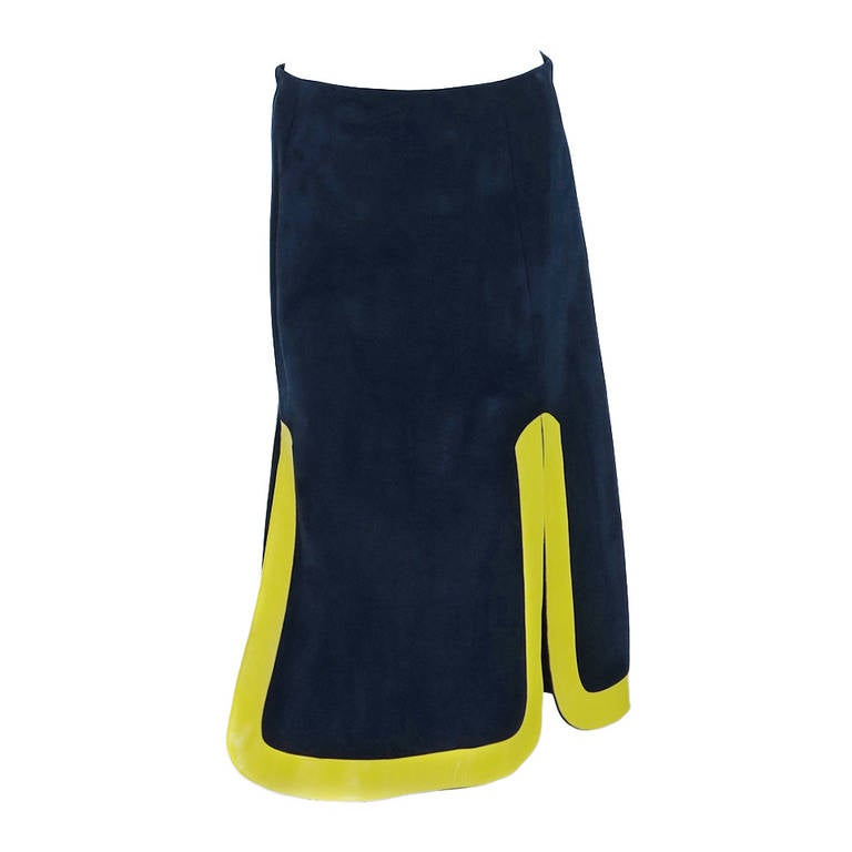 1960s Pierre Cardin space age blue suede and yellow leather skirt